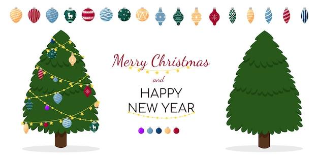 Wenskaart met kerstbomen