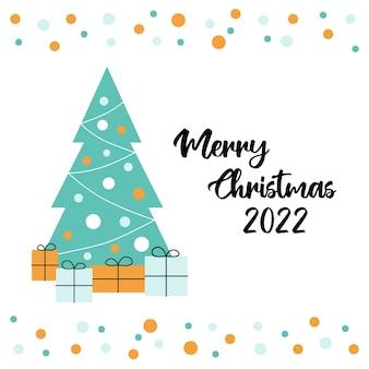 Wenskaart met kerstboom en cadeautjes