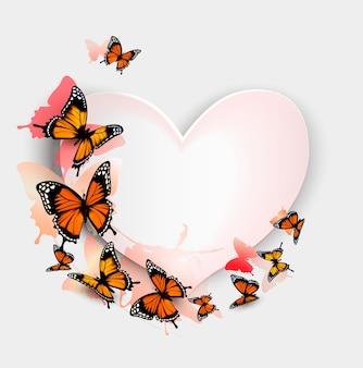 Wenskaart met kleurrijke vlinders en hart