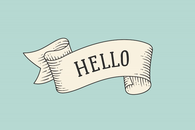 Wenskaart met lint en woord hallo