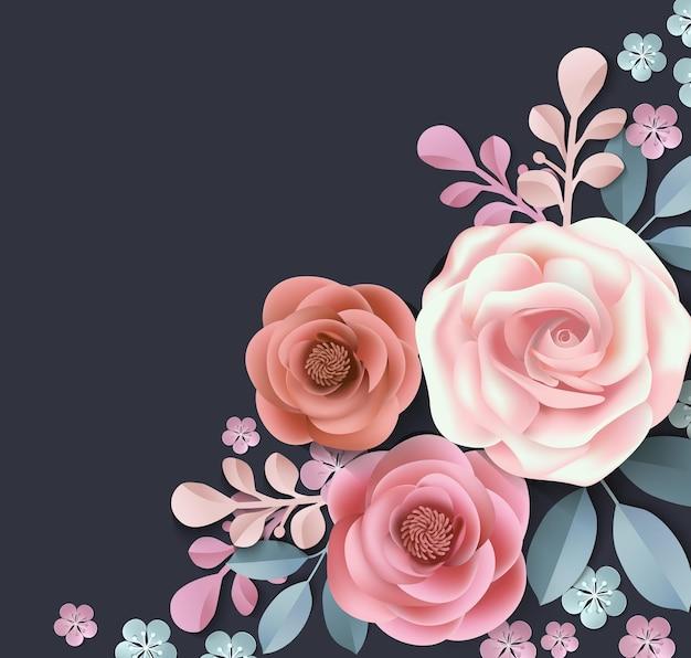 Wenskaart met papieren bloemen template vector