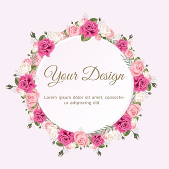 Wenskaart met roos kan worden gebruikt als uitnodigingskaart voor bruiloft, verjaardag en andere feestdagen.