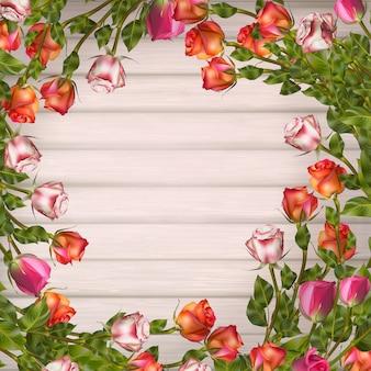 Wenskaart met rozen, kan worden gebruikt als uitnodigingskaart voor bruiloft, verjaardag en andere vakantie- en zomerachtergrond. bestand opgenomen