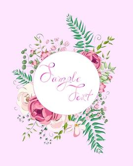 Wenskaart met rozen kan worden gebruikt als uitnodigingskaart voor bruiloft