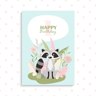 Wenskaart met schattige cartoon wasbeer. gelukkige verjaardag card