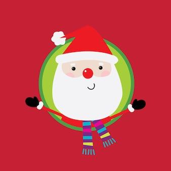 Wenskaart met schattige kerstman