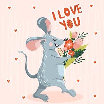 Wenskaart met schattige muis en een boeket bloemen.