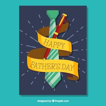 Wenskaart met stropdas en pen voor vaderdag