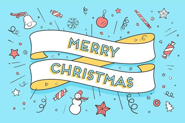 Wenskaart met trendy lint en tekst merry christmas voor kerstthema.