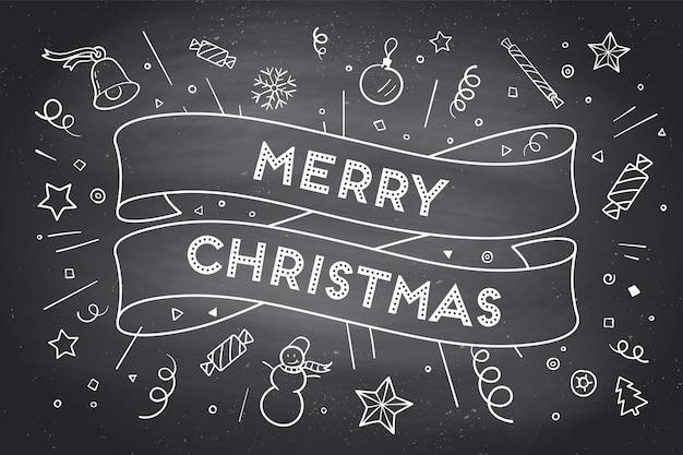 Wenskaart met trendy lint en tekst merry christmas