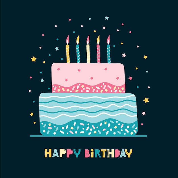 Wenskaart met verjaardagstaart met kaarsen