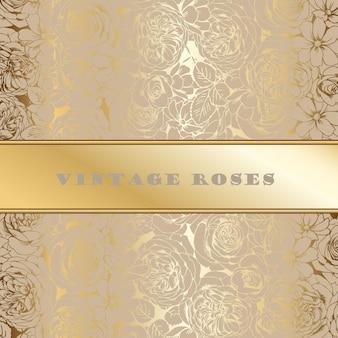 Wenskaart met vintage opengewerkte gouden rozen 2