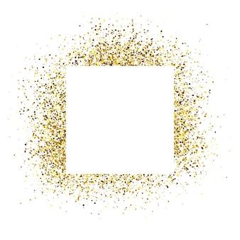 Wenskaart met wit vierkant frame op gouden glitter achtergrond. lege witte achtergrond. vector illustratie.