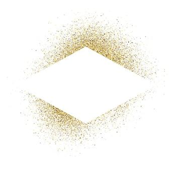 Wenskaart met witte ruit frame op gouden glitter achtergrond. lege witte achtergrond. vector illustratie.