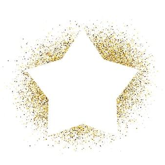 Wenskaart met witte ster frame op gouden glitter achtergrond. lege witte achtergrond. vector illustratie.