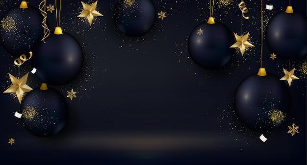 Wenskaart met zwarte kerstballen, 3d sterren, gouden confetti, lichten op zwarte achtergrond.