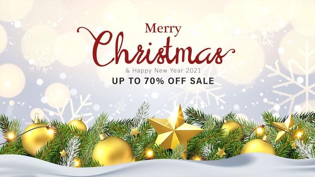 Wenskaart ontwerp en verkoop banner met kerst objecten