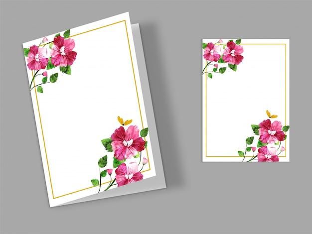 Wenskaart ontwerp met aquarel ingericht bloemen en ruimte voor uw tekst.