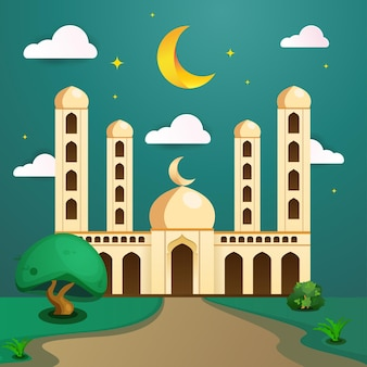 Wenskaart ramadan kareem met groene moskee