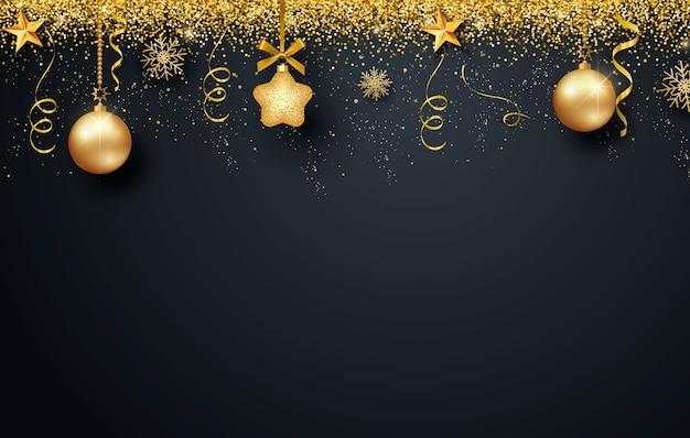 Wenskaart, uitnodiging met gelukkig nieuwjaar 2021 en kerstmis. metallic gouden kerstballen, decoratie, glinsterende, glanzende confetti op een zwarte achtergrond.