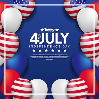 Wenskaart van 4 juli, onafhankelijkheidsdag van de vs met frame van kleurrijke heliumballon en amerikaanse vlag
