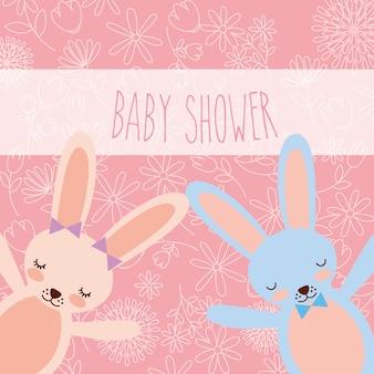Wenskaart van baby shower roze en blauwe konijntjes