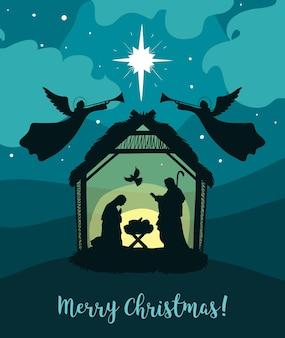 Wenskaart van christian christmas nativity baby jezus met maria en jozef heilige nacht