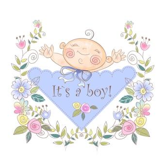 Wenskaart van de geboorte van de jongen.