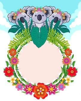 Wenskaart van schattige koala's en bloemen