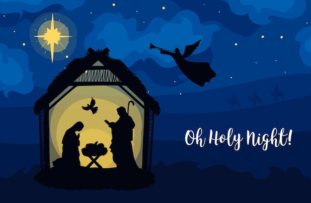 Wenskaart van traditionele christelijke kerststal van baby jezus in de kribbe met maria en jozef in silhouet. heilige nacht