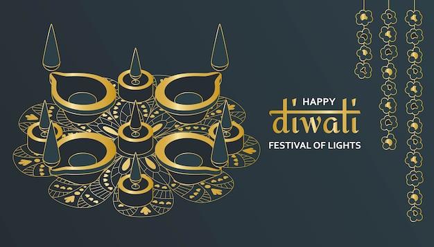 Wenskaart voor diwali-festivalviering in india.