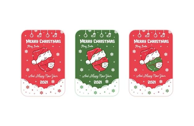Wenskaart voor kerstmis en nieuwjaar stay safe edition
