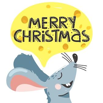 Wenskaart voor kerstmis met schattige muis.