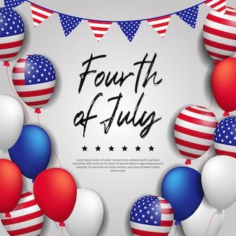 Wenskaart voor onafhankelijkheidsdag van de vs, 4 juli met 3d vliegende kleurrijke ballon met amerikaanse vlag