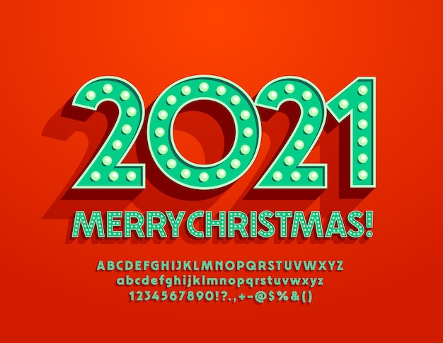 Wenskaart vrolijk kerstfeest 2021! ouderwetse lettertype. retro alfabetletters en cijfers