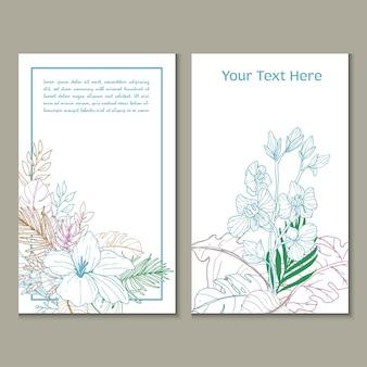 Wenskaarten kleurrijke bloemen en bladeren in lijntekeningen