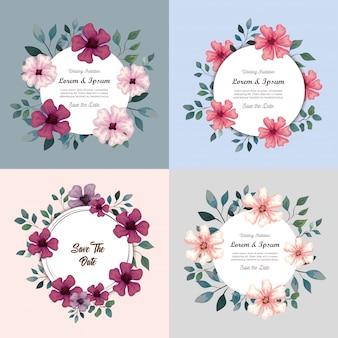 Wenskaarten met bloemen, huwelijksuitnodigingen met bloemen met takken en bladeren decoratie illustratie ontwerp