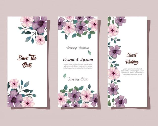 Wenskaarten met bloemen roze en lila kleur, huwelijksuitnodigingen met bloemen met takken