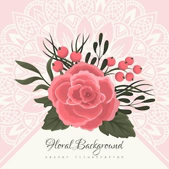 Wenskaartsjabloon met florale achtergrond