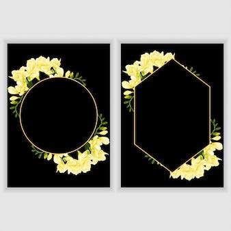Wenskaartsjabloon met gele bloem frame