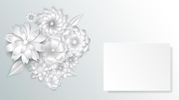 Wenskaartsjabloon met prachtige papieren bloemen met zachte schaduwen