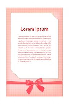 Wenskaartsjabloon met roze lint en een boog. vector illustratie