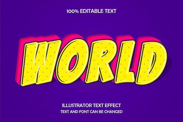 Wereld, 3d bewerkbaar teksteffect moderne schaduwboogstijl
