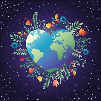Wereld aarde hart met florale decoratie