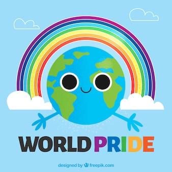 Wereld achtergrond met trots dag regenboog