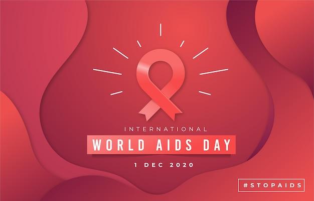Wereld aids dag achtergrond in papieren stijl