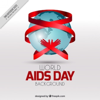 Wereld aids dag achtergrond met de handen omarmen de wereld