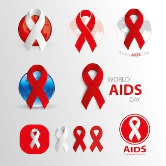 Wereld aids dag aids bewustzijn medische tekens vector iconen