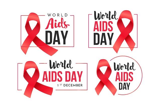 Wereld aids dag badges ingesteld