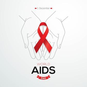 Wereld aids dag banner rood bewustzijn lint